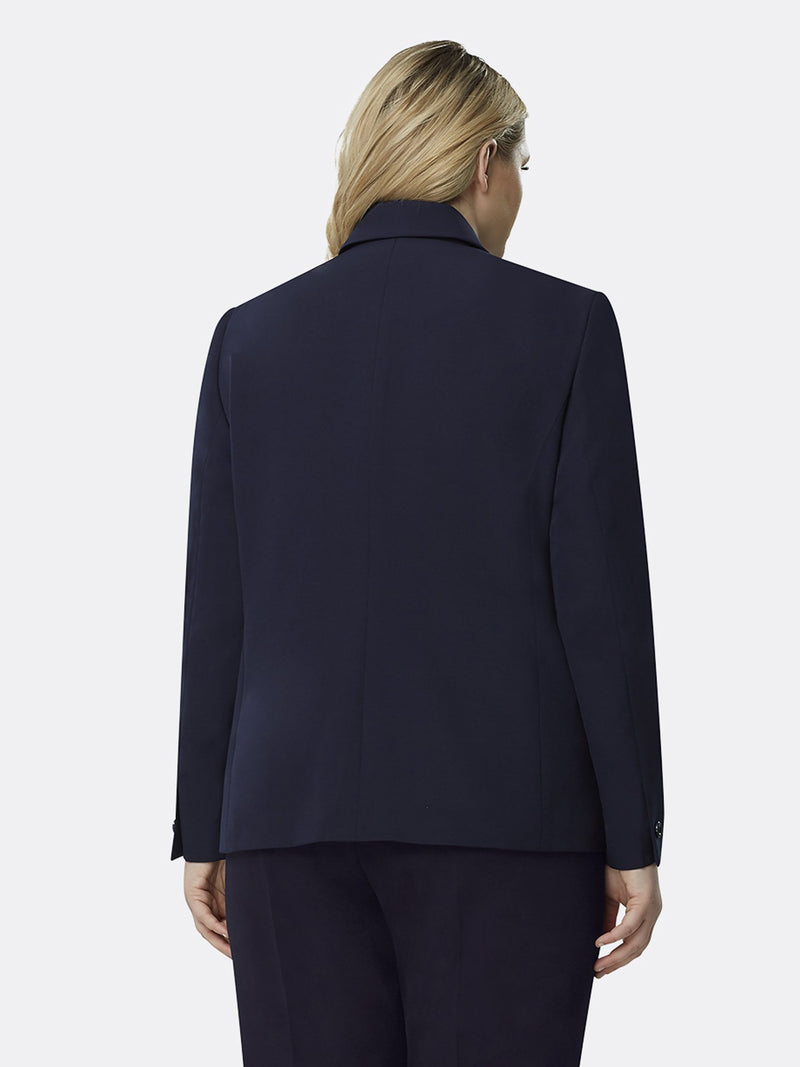 Back View of Tahari ASL's One Button Flap Jacket in Navy Blue NAVY