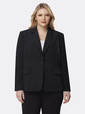 Front View of Tahari ASL's One Button Flap Jacket in Black BLACK