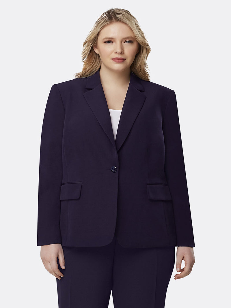 Front View of Tahari ASL's One Button Flap Jacket in Navy Blue NAVY