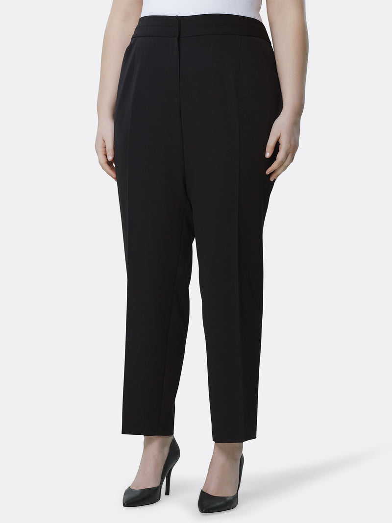 Front View of the Luxury Black Split Straight Leg Pants by Tahari ASL BLACK