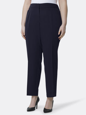 Front View of Tahari ASL's Straight Leg Replacement Pant in Navy NAVY
