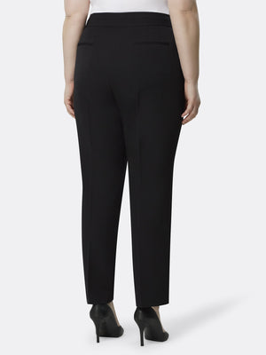 Back View of the Luxury Black Split Straight Leg Pants by Tahari ASL BLACK