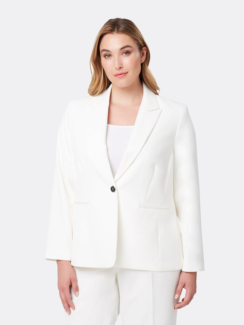 Front View of Women's Designer One Button Peak Lapel Jacket by Tahari ASL