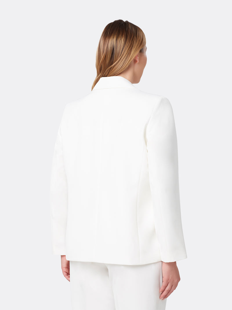 Back View of Women's Designer One Button Peak Lapel Jacket by Tahari ASL