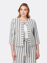 Front View of Women's Luxury Collarless Open Jacket by Tahari ASL