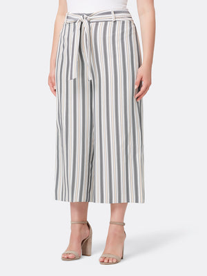 Striped Wide-Leg Crop Pants