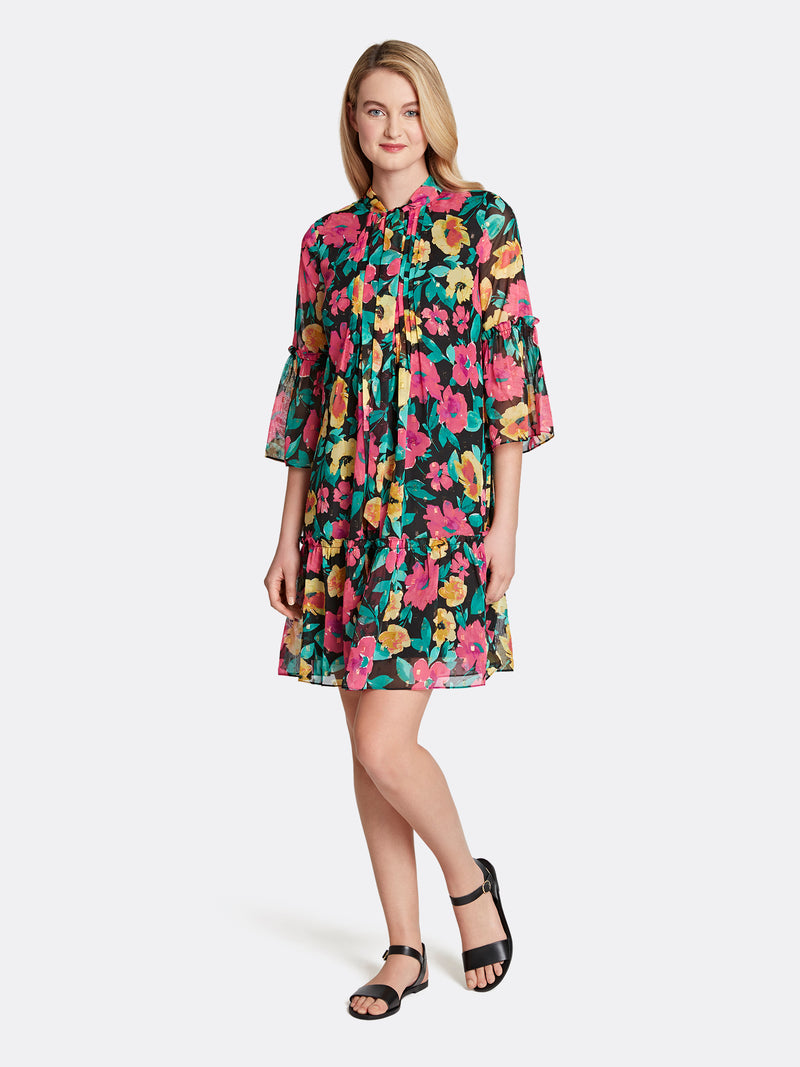 Poppy Print Chiffon Pleated Shift