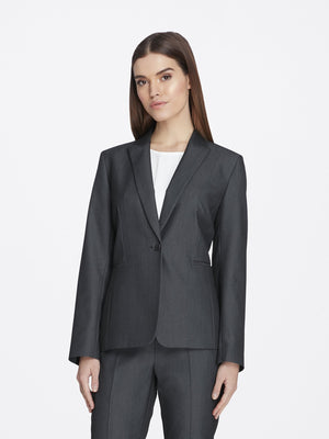 Front View of Women's Luxury Dark Grey Jacket with One Button by Tahari ASL