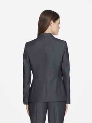 Back View of Women's Luxury Dark Grey Jacket with One Button by Tahari ASL