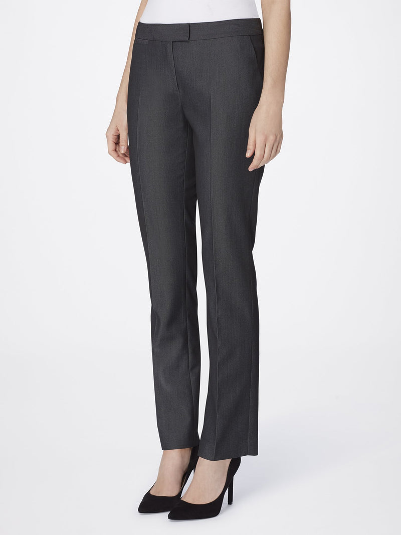 Front View of Women's Luxury Dress Pant with Slant Pocket by Tahari ASL DARK GREY