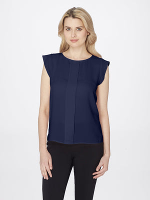 Front View of Women's Flutter Cap Sleeve Blouse in Navy Blue | Tahari ASL NAVY