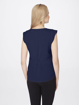 Back View of Women's Flutter Cap Sleeve Blouse in Navy Blue | Tahari ASL NAVY