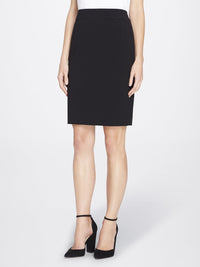 Front View of Women's Straight Skirt with Side Zip in Black | Tahari ASL BLACK