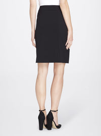Back View of Women's Straight Skirt with Side Zip in Black | Tahari ASL BLACK