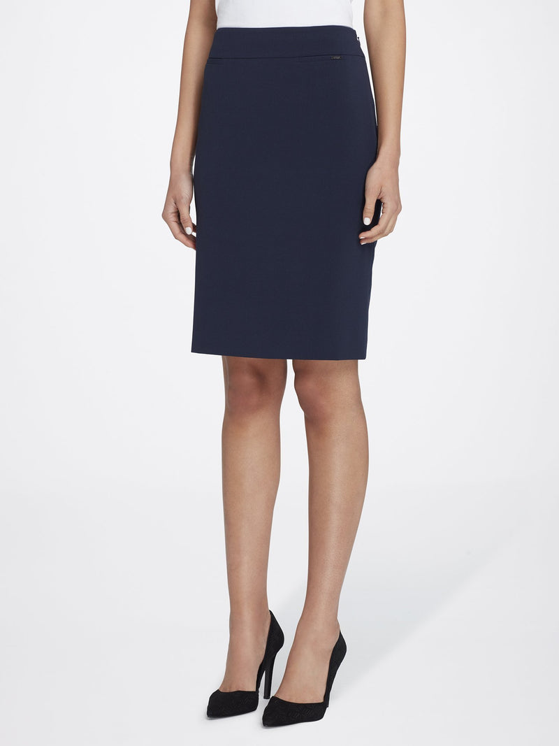 Front View of Women's Straight Skirt with Side Zip in Navy Blue | Tahari ASL NEW NAVY