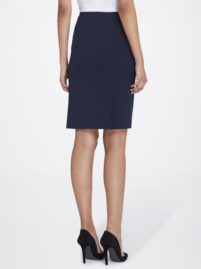 Back View of Women's Straight Skirt with Side Zip in Navy Blue | Tahari ASL NEW NAVY