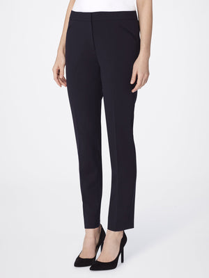Front View of Women's Straight Leg Skinny Pant with Pockets in Black | Tahari ASL BLACK