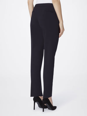 Back View of Women's Straight Leg Skinny Pant with Pockets in Black | Tahari ASL BLACK