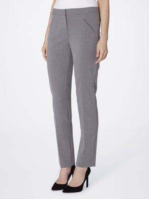Front View of Women's Straight Leg Skinny Pant with Pockets in Heather Grey | Tahari ASL HEATHER GREY