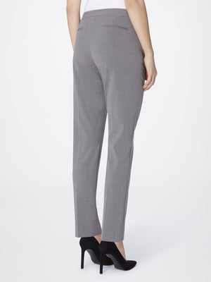 Back View of Women's Straight Leg Skinny Pant with Pockets in Heather Grey | Tahari ASL HEATHER GREY