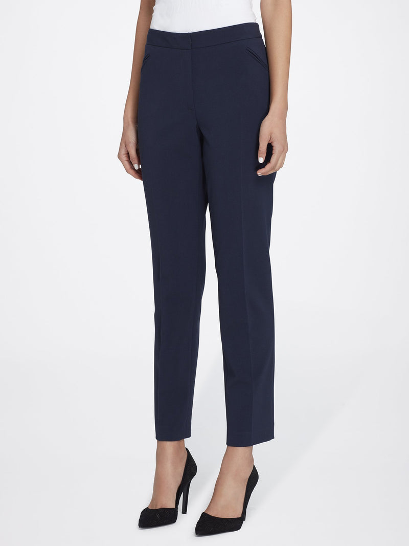 Front View of Women's Straight Leg Skinny Pant with Pockets in Navy Blue | Tahari ASL NEW NAVY