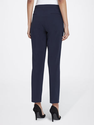 Back View of Women's Straight Leg Skinny Pant with Pockets in Navy Blue | Tahari ASL NEW NAVY