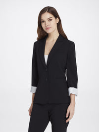 Front View of Women's Black Peak Lapel Jacket with 2 Buttons and Cuffed Sleeves | Tahari ASL BLACK
