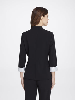 Back View of Women's Black Peak Lapel Jacket with 2 Buttons and Cuffed Sleeves | Tahari ASL BLACK