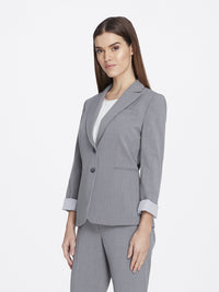 Front View of Women's Heather Grey Peak Lapel Jacket with 2 Buttons and Cuffed Sleeves | Tahari ASL HEATHER GREY