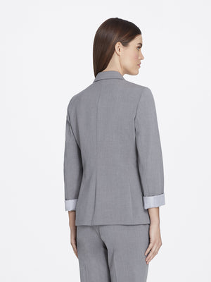 Back View of Women's Heather Grey Peak Lapel Jacket with 2 Buttons and Cuffed Sleeves | Tahari ASL HEATHER GREY