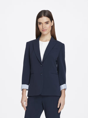 Front View of Women's Navy Blue Peak Lapel Jacket with 2 Buttons and Cuffed Sleeves | Tahari ASL NEW NAVY