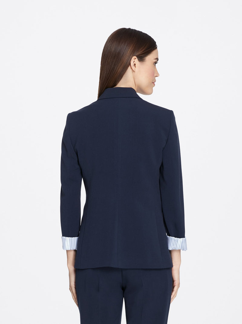 Back View of Women's Navy Blue Peak Lapel Jacket with 2 Buttons and Cuffed Sleeves | Tahari ASL NEW NAVY