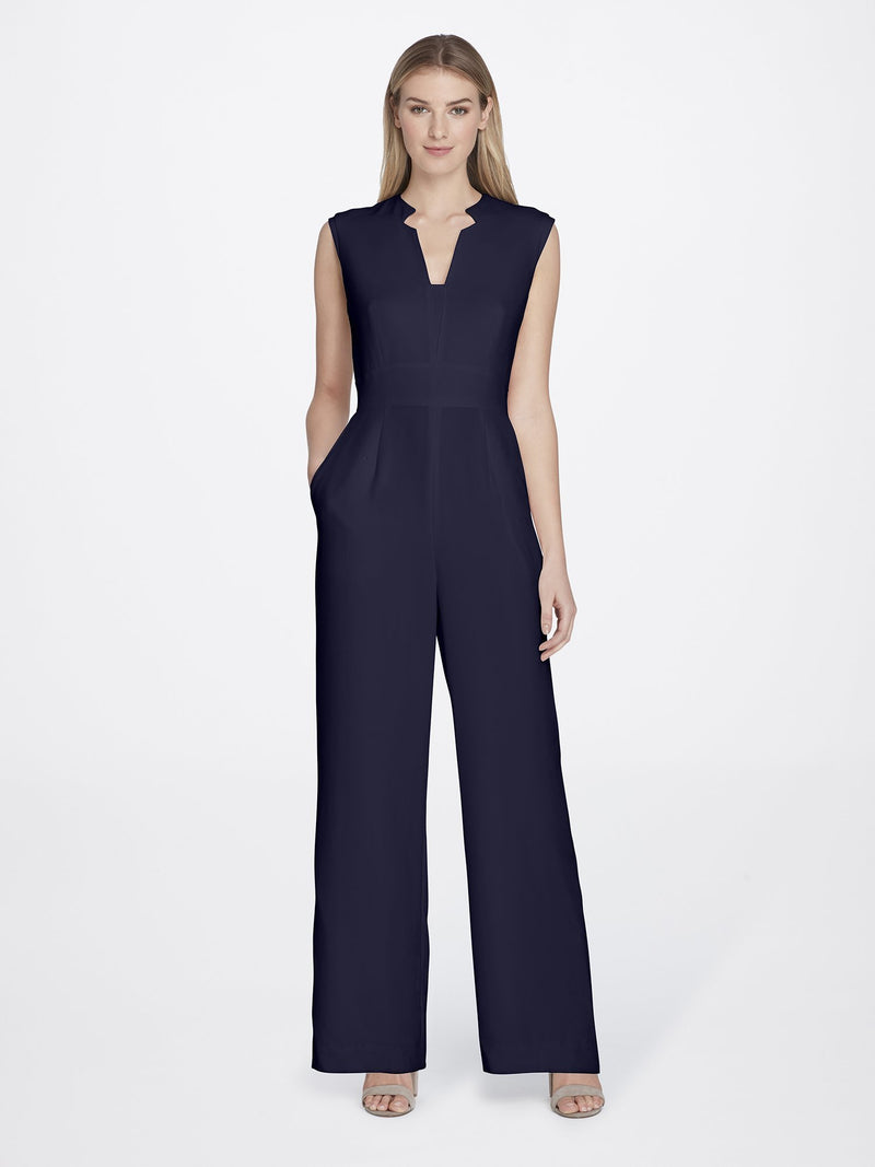 Woman Wearing Crepe Jumpsuit Navy Blue with V Neckline | Tahari ASL NAVY
