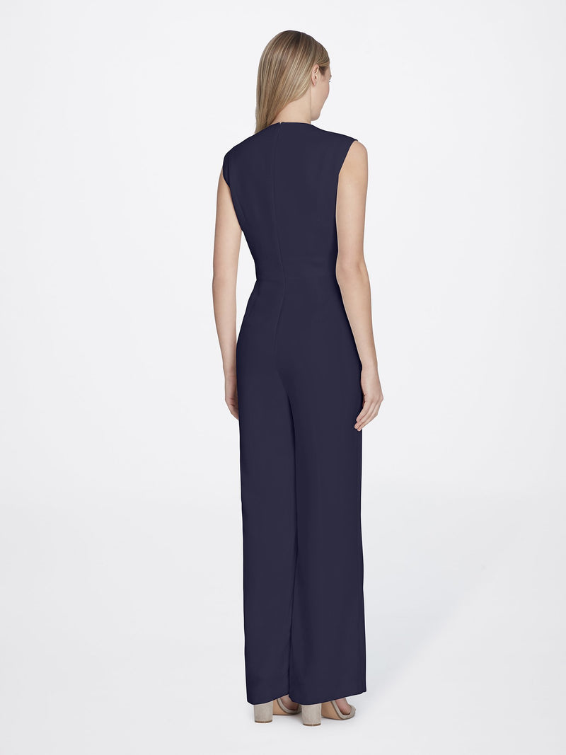 Back of Woman Wearing Crepe Jumpsuit Navy Blue with V Neckline | Tahari ASL NAVY