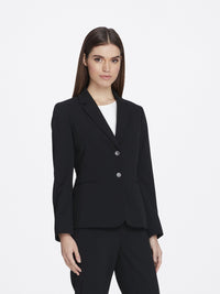 Front View of Women's Luxury Black Jacket with 2 Buttons Notch Collar by Tahari ASL BLACK