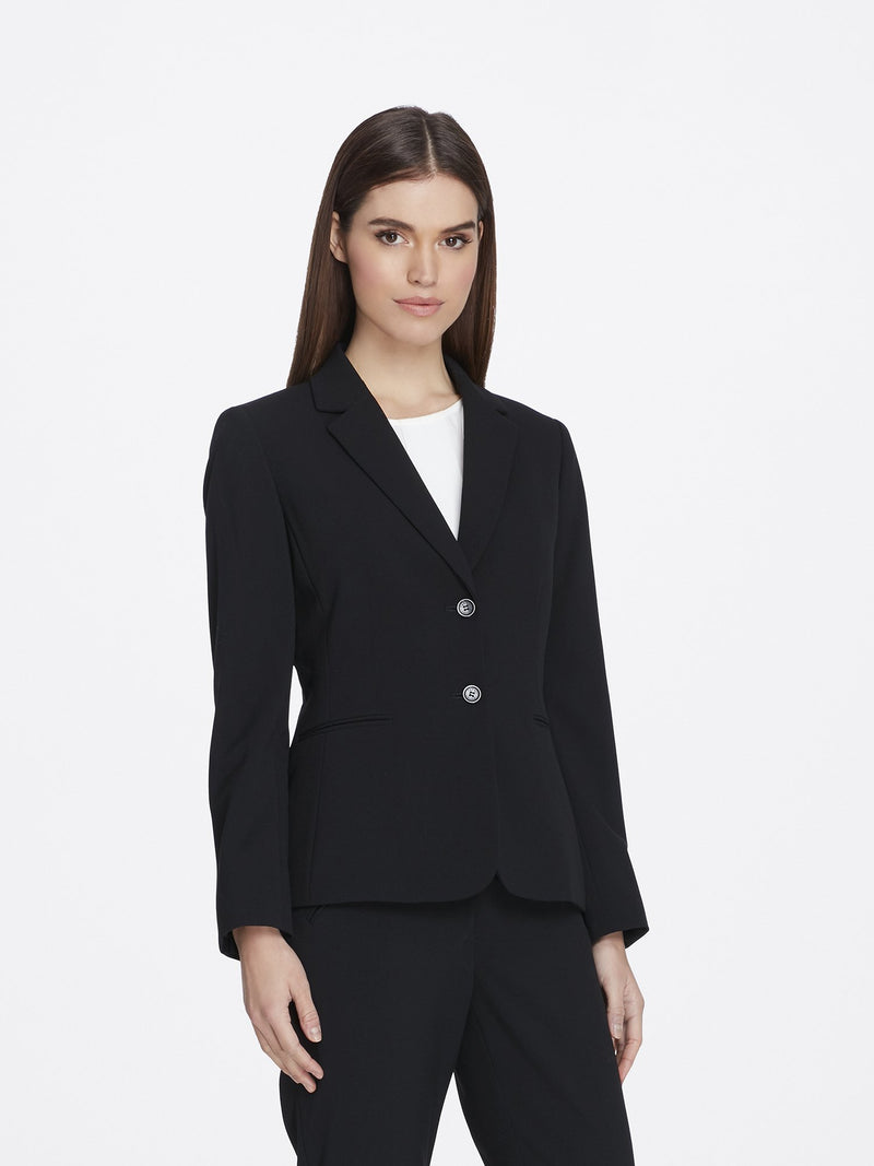 Front View of Women's Luxury Black Jacket with 2 Buttons Notch Collar by Tahari ASL