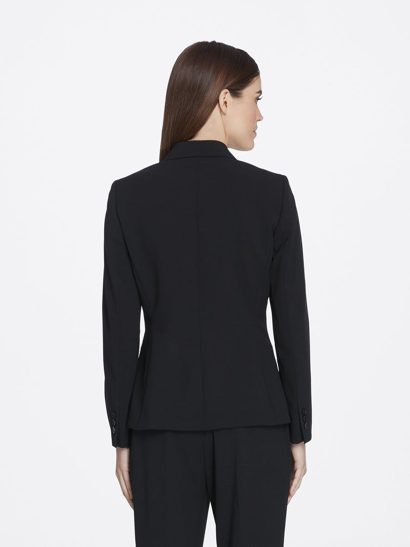 Back View of Women's Luxury Black Jacket with 2 Buttons Notch Collar by Tahari ASL