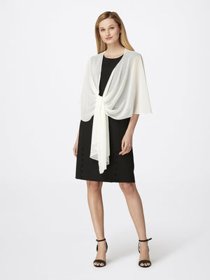 Front View of Women's Designer Chiffon Shawl in Ivory White | Tahari ASL Ivory White