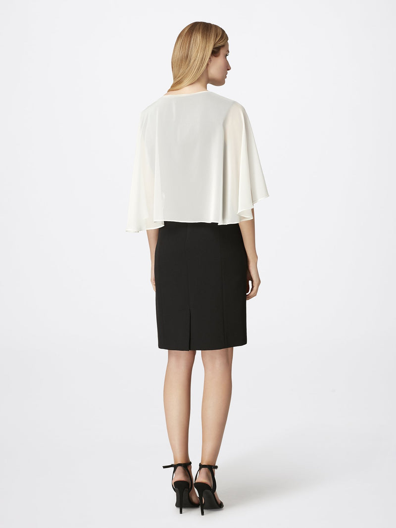 Back View of Women's Designer Chiffon Shawl in Ivory White | Tahari ASL Ivory White