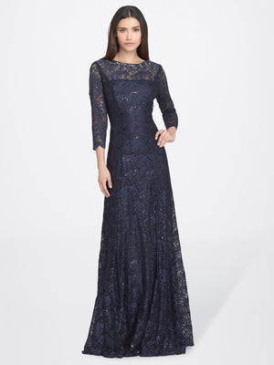 Front View of 3/4 Sleeve Lace A Line Women's Gown in Navy Blue | Tahari ASL NAVY