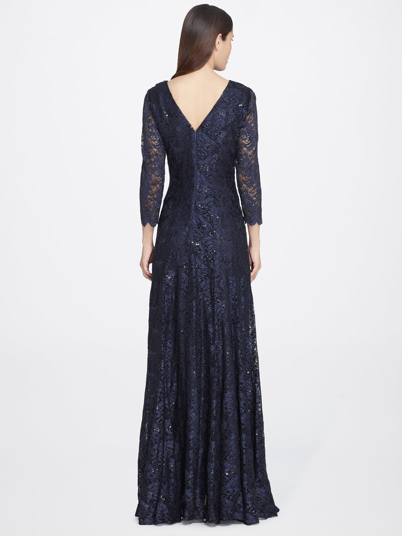 Back View of 3/4 Sleeve Lace A Line Women's Gown in Navy Blue | Tahari ASL NAVY