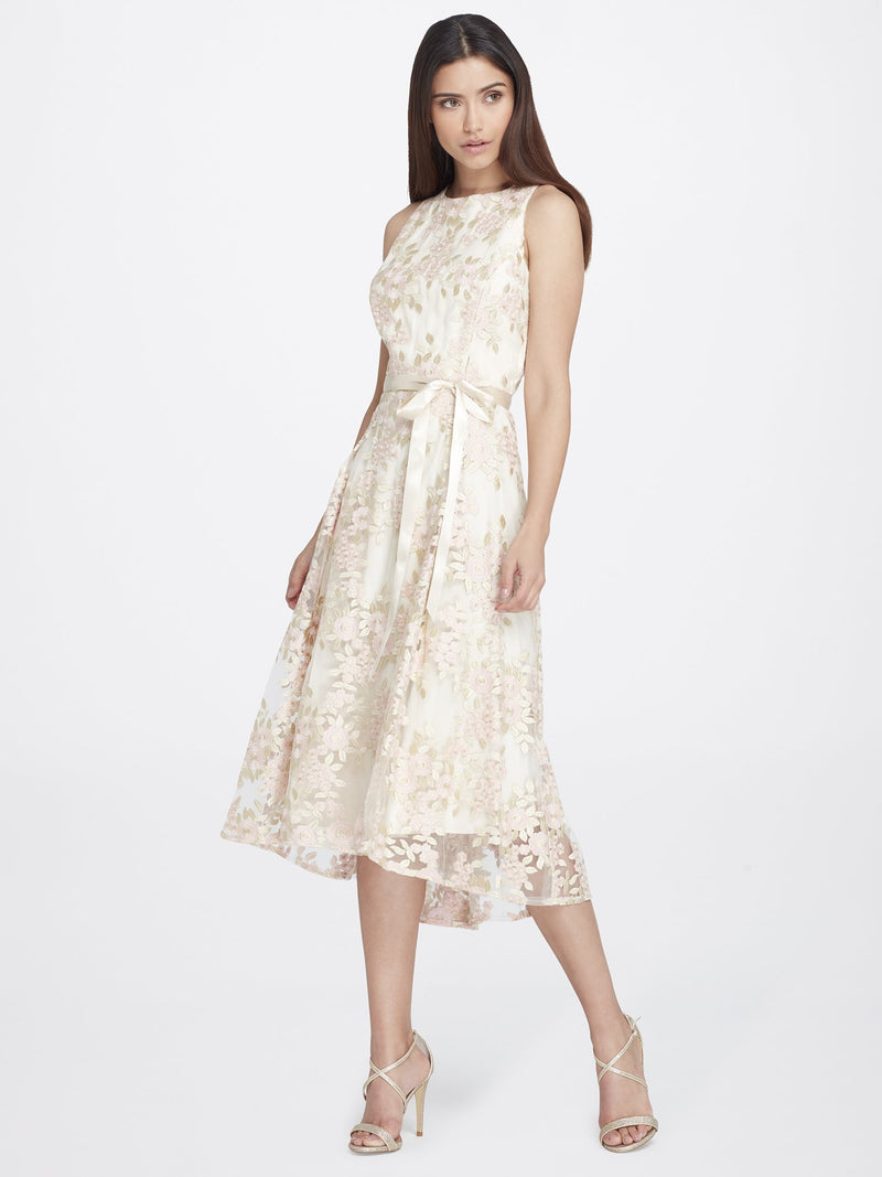 Front View of Jewelneck Sleeveless Lace Dress in Champagne With Pink Petals | Tahari Asl CHAMPAGNE/PETAL