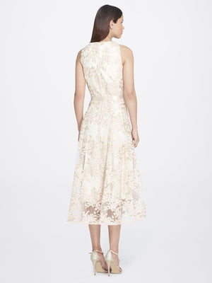 Back View of Jewelneck Sleeveless Lace Dress in Champagne With Pink Petals | Tahari Asl CHAMPAGNE/PETAL