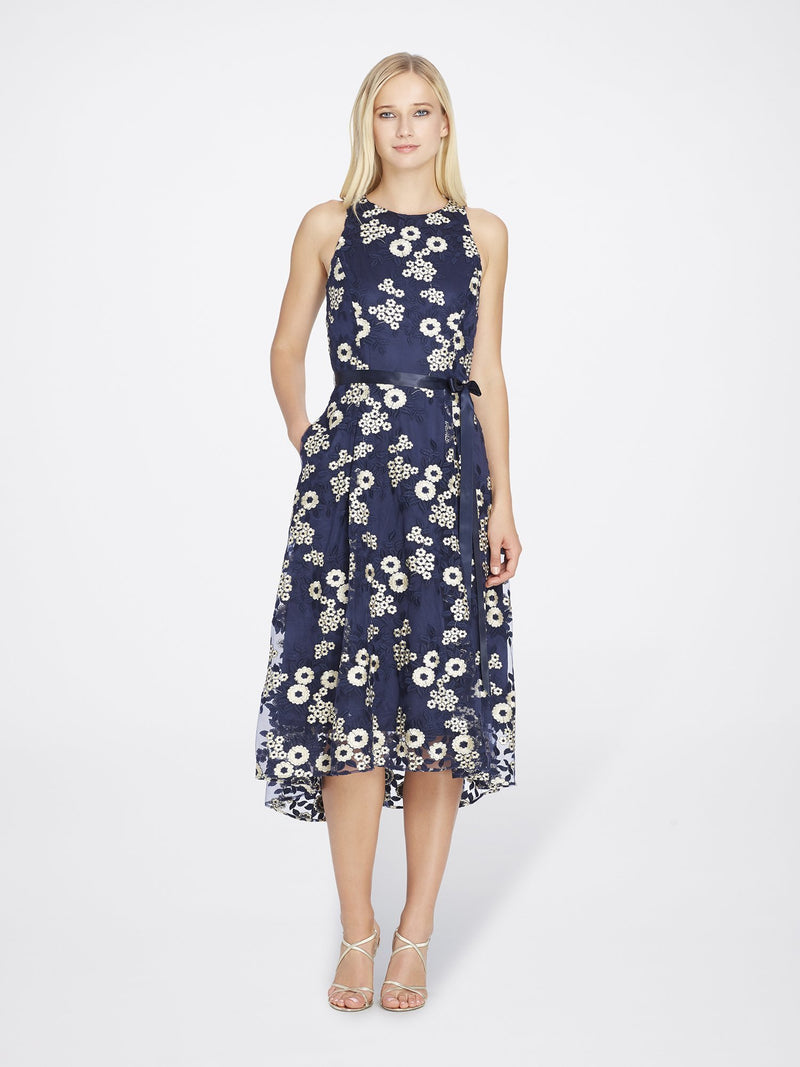 Front View of Jewelneck Sleeveless Lace Dress in Navy Blue With Gold Flowers | Tahari Asl NAVY/GOLD