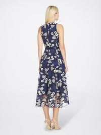 Back View of Jewelneck Sleeveless Lace Dress in Navy Blue With Gold Flowers | Tahari Asl NAVY/GOLD