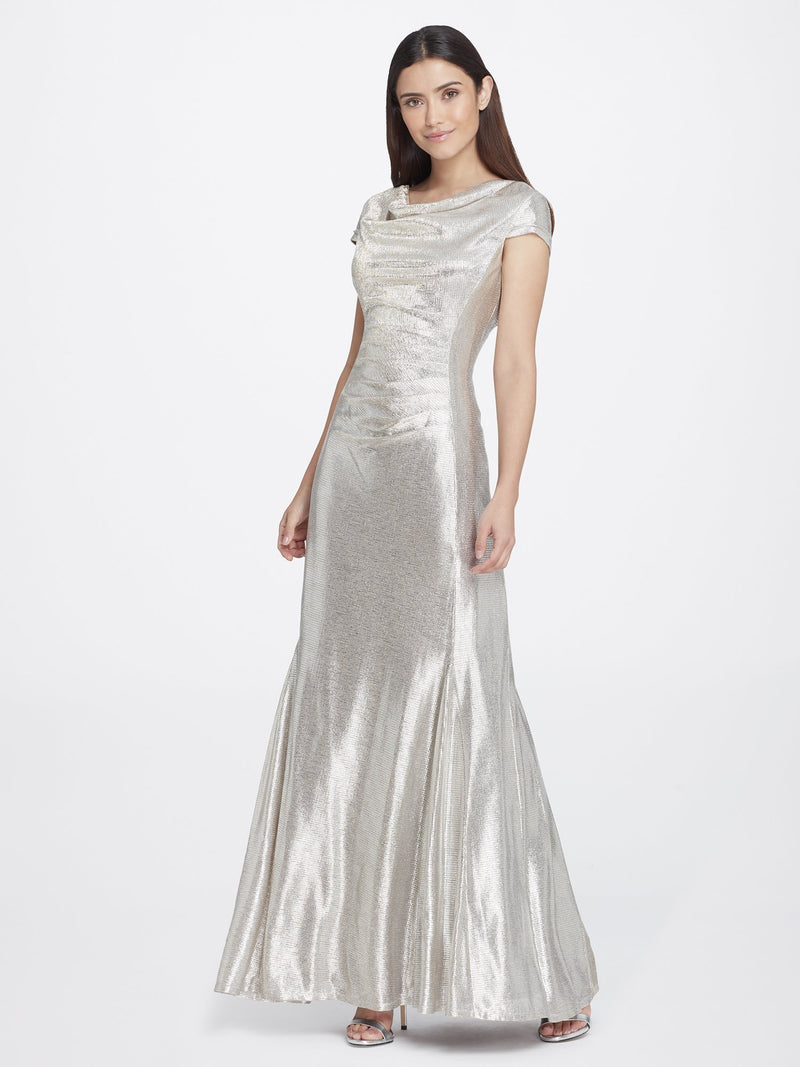 Front View of Cowlneck Cap Sleeve Silver Women's Gown | Tahari Asl SILVER POWDER