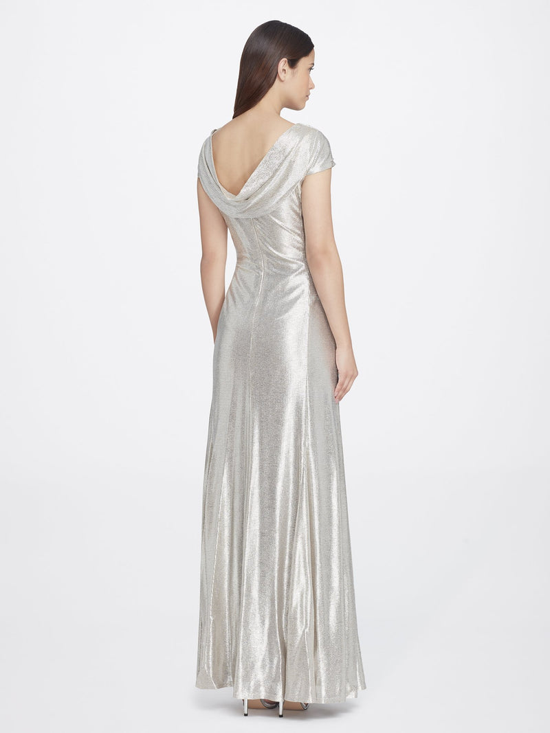 Back View of Cowlneck Cap Sleeve Silver Women's Gown | Tahari Asl SILVER POWDER