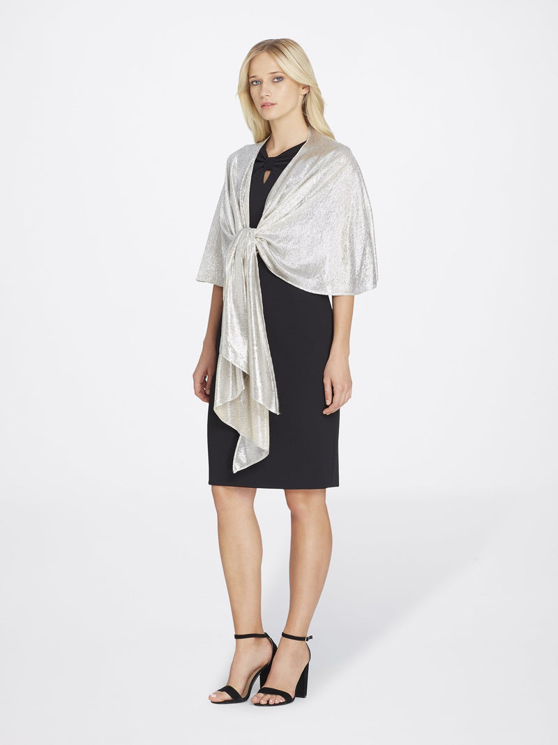 Front View of Women's Shimmer Chiffon Shawl in Silver | Tahari Asl Silver Powder