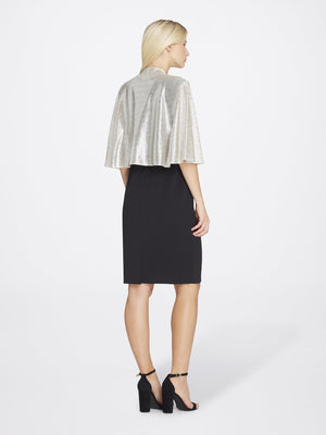 Back View of Women's Shimmer Chiffon Shawl in Silver | Tahari Asl Silver Powder
