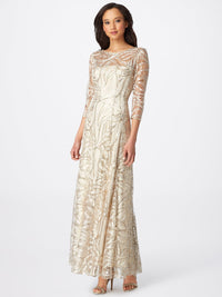 Front View of 3/4 Sleeve A Line Women's Gown in Champagne and Gold | Tahari Asl  CHAMPAGNE GOLD